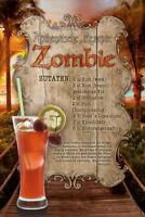 Zombie Cocktail Rezept Blechschild Schild gewölbt Metal Tin Sign 20 x 30 cm