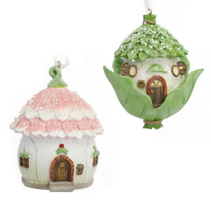 Single Fairy House - 11cm Christmas Bauble - Choice of Green and Pink