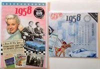 60th BIRTHDAY GIFT SET - 1958 DVD 60min Pop CD and Year Greeting Card