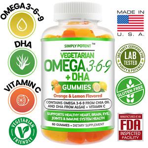Omega 3 Gummies, Omega 3 6 9 DHA & Vitamin C, Vegetarian Omega 3 Fish Oil Gummy