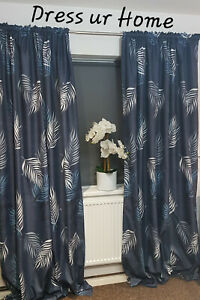 A pair of Curtains Navy Blue and Leaves White Blue Pencil Pleat