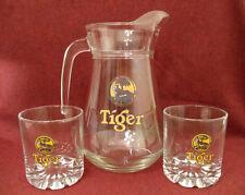 New listing Vtg Tiger Tap Beer Logo Glass Bar Pitcher France w/ 2 Draft Glasses Man Cave Ec
