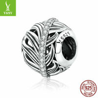 Fashion Girls 925 Sterling Silver Feather's Love CZ Charm Bead Jewelry Accessory