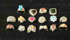 LOT OF 16 VINTAGE STERLING SILVER CRYSTAL STONE RINGS