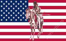 USA INDIAN AND HORSE FLAG - 5x3 Feet - NATIVE AMERICAN HORSE
