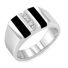 0.15 CT Men's Round Real Diamond Black Onyx Ring Band F VS1 14K Gold White SZ 10