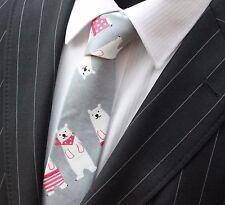 Tie Neck tie Slim Grey with Polar Bears Quality Cotton T6199