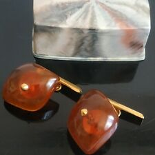 Vintage Amber Cufflinks gold plated in Original Box