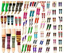 New Ladies Girls Teen 80s Disco Leg Warmers Plain Stripe Animal Print Dance Wear