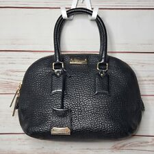 Authentic BURBERRY Heritage Grain Orchard Bag Black Embossed Leather Satchel