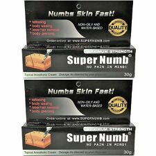 LOT - 2 Tubes x 30g Super Numb numbing cream painless piercings waxing laser Dr