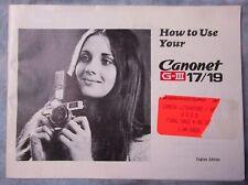 New listing Original Canon Canonet G-Iii 17 / 19 Film Camera Instruction Manual