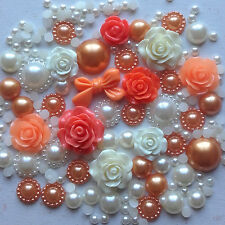 20g ORANGE+CREAM Pearls/Roses/Gems Flatback Kawaii Cabochons Decoden Craft