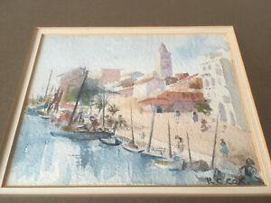 Original Signed Watercolour Painting Croatia Rab Island Quay Bell Tower Yacht