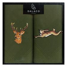 Embroidered Green Stag and Hare Handkerchiefs - stalking shooting hanky present