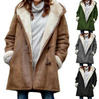 Women Winter Warm Casual Fleece Hoody Hooded Loose Long Sleeve Overcoat Outwear