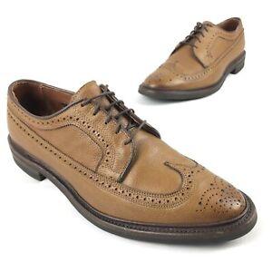 Allen Edmonds Mens MacNeil Wingtip Oxford Fall Dress Shoes sz 10 D Light Brown