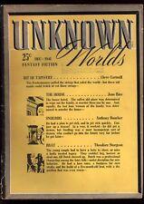 Unknown Worlds Dec 1941 Boucher Sturgeon De Camp Del Rey EF Russell Rice FR/GD