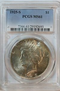 1925-S $1 Peace Silver Dollar Coin PCGS MS 61 - L9H3