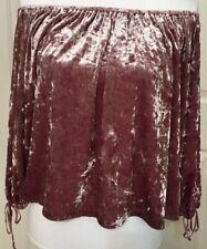 Women's american eagle size M pink velvet 3/4 sleeve off shoulder top