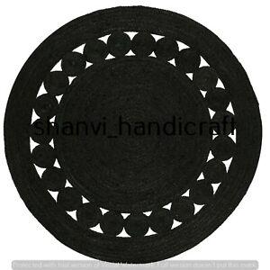 Black Colour Round Rug 3 Feet Braided Natural Jute Rugs Floor Mat Decor Area Rug