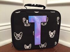 Justice Black White Silver Puppy Dog Initial T Lunch Box Tote New!