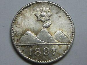 1897 GUATEMALA 1/4 REAL VOLCANO SILVER ,.
