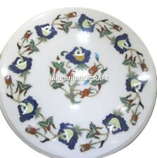 """12"""" White Marble Coffee Round Table Top Mosaic Precious Inlay Floral Decor H2500"""