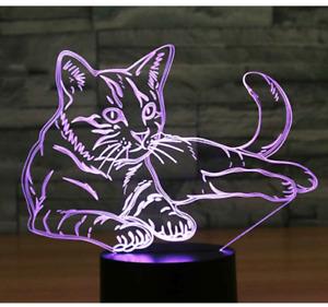 3D LED Night Light 7 Colours Desk Bedroom Bedside Lamp - Cat