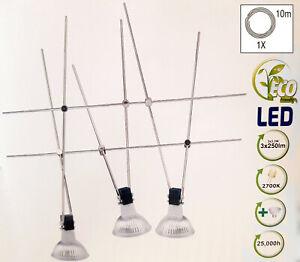 LED Seilsystem Set 4,5m spannbar mit 3x 3.3W LED Strahlern Seil System Lampe 12V