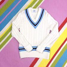 Vtg Aran Cricket Sweater Cream Cable Knit Small Light Blue Stripe Wool Blend