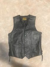mens leather motorcycle vest m