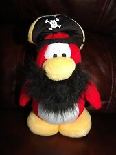 Disney Club Penguin Red and White Pirate Penguin Plush Doll 8""