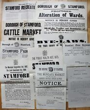 10 Stamford Markets & Fairs Public Notice Handbill Poster Collection Nice Rare