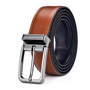 Classice Men Genuine Pin Buckle Belt Leather Strap Double-sided Belts Waistband