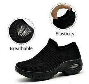 Womens Trainers Air Cushion Slip On Breathable Sneakers Sport Running Shoes SZ9#