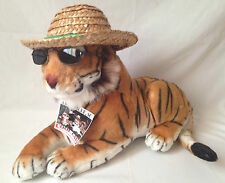 """Cool Cat Plush Bengal Tiger in Straw Hat and Sunglasses Take Pawz 17"""""""