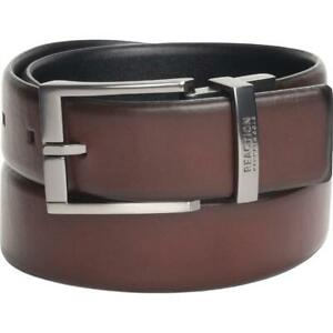 Kenneth Cole Reaction Mens Brown Faux Leather 35MM Reversible Belt M BHFO 8531