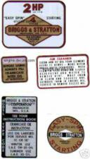 Briggs & Stratton Minibike engine decal 2-hp 1960s Set of 5