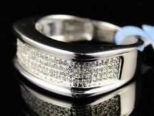 10K Mens White Gold Wedding Band Round Cut Diamond Pave