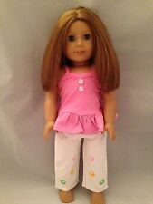 Doll Clothes Made for American Girl-Pink Top/White pants
