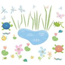 *New* 40 Hoppy Pond Wall Decals Removable Stickers Appliques - frog turtle fish