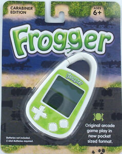 FROGGER Handheld Electronic GAME Arcade Konami Frog Lily Travel Carabiner Mini