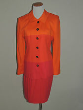 WOMENS BLUSHE ORANGE/RED LINEN BLEND 2 PIECE SKIRT SUIT SIZE 6 MISSY