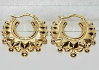 9ct Gold Spiked Large Victorian Style Creole Hoop Earrings - SOLID 9K GOLD