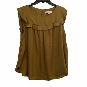 LOFT Womens size medium Solid Brown Cap Flutter Sleeve Sateen Ruffle Blouse