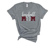 Personalized Baseball Mom Glitter T-Shirt Custom Baseball Mom Sports Tee