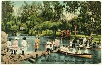 Postcard East Lake Park CA Los Angeles California Kids Play Boats 1900's 1910's
