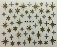 Nail Art 3D Decal Stickers Silver & Gold Stars Snowflakes Christmas BLE737D