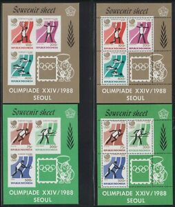 Indonesia 1350-1355 1988 Summer Olympics Perf & Imperf Souvenir Sheets SCV $105